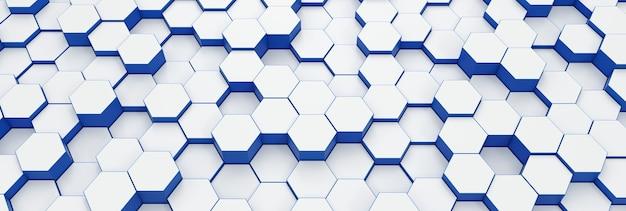 Motif de texture de fond hexagonal moderne. nids d'abeilles à différents niveaux. illustration de rendu 3d. bannière futuriste.