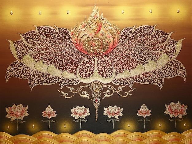 Motif thaïlandais sur le mur, peinture ornement traditionnel sur le mur du temple