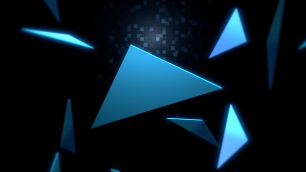 Motif de triangles dans l'espace, abstrait. style géométrique dynamique élégant et luxueux pour les entreprises, illustration 3d