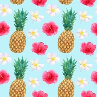 Motif tropical avec de belles fleurs rouges roses hibiscus et frangipanier blanc ou plumeria et ananas. texture transparente. illustration aquarelle dessinée à la main.