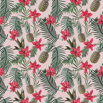 Motif tropical créatif sans soudure avec des fleurs et des ananas sur un mur pastel rose. concept de la nature