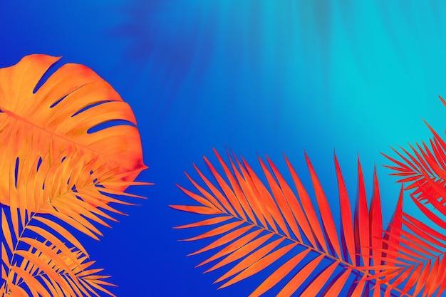 Motif tropical moderne avec des feuilles exotiques isolées sur fond clair. flyer pour la conception. copyspace pour l'annonce.