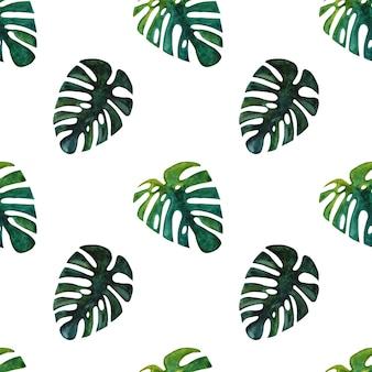 Motif tropical sans couture aquarelle dessinés à la main avec feuille de monstera