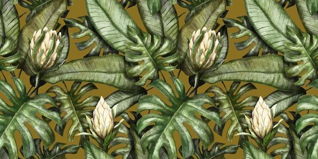 Motif tropical sans couture avec des fleurs de protéa feuilles de palmier monstera colocasia feuilles de bananier