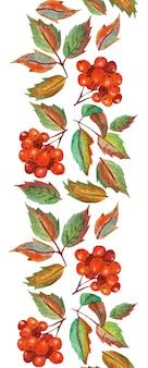 Motif vertical sans couture avec éléments répétitifs feuilles d'automne et bouquets de sorbier