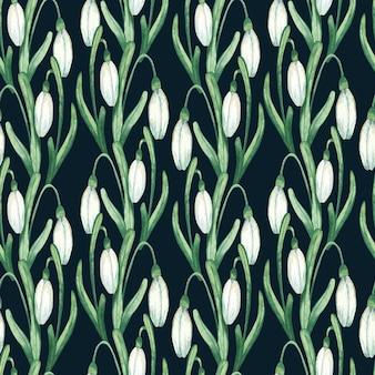Motifs floraux aquarelle avec perce-neige blancs
