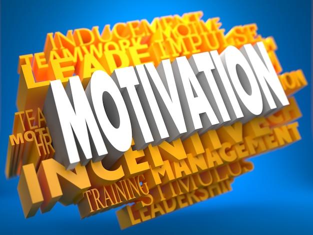 Motivation sur wordcloud jaune sur fond bleu.