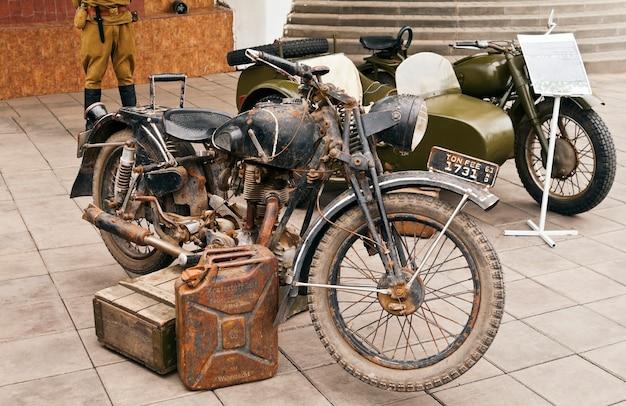 Moto allemande capturée seconde guerre mondiale photo prise lors d'une exposition de rue du club d'histoire militaire russie orenburg 08292015