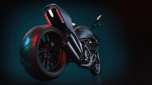 Moto bigbike sur fond bleu et noir. rendu 3d et illustration.