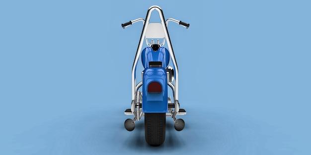 Moto custom classique bleue isolée sur fond bleu clair. rendu 3d.