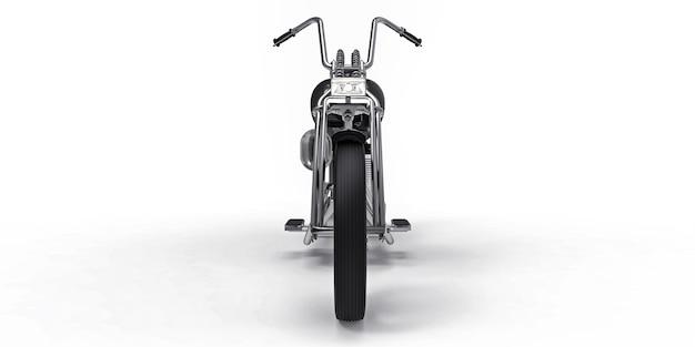 Moto custom classique noire isolée sur fond blanc. rendu 3d.
