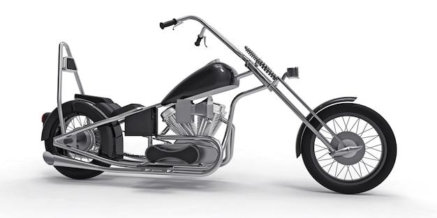 Moto custom classique noire isolée sur surface blanche
