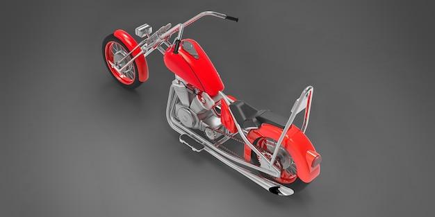 Moto custom classique rouge isolée sur fond gris. rendu 3d.