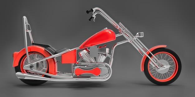 Moto custom classique rouge isolée sur surface grise