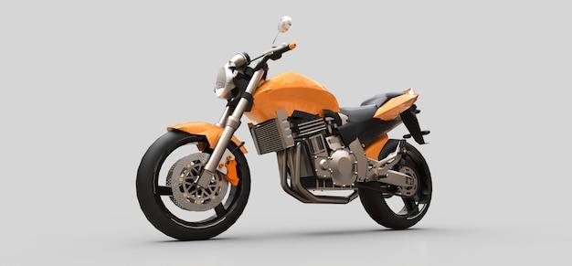 Moto deux places sport urbain orange sur une surface grise