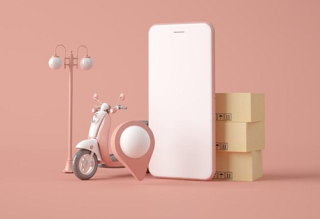 Moto, lampadaire, smartphone et boîtes à cartes.