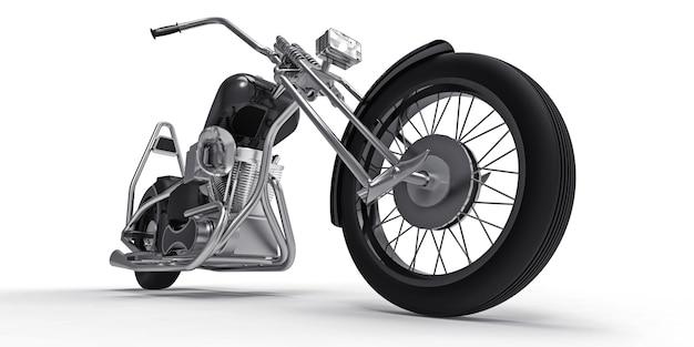 Moto personnalisée classique noir isolé sur fond blanc. rendu 3d.