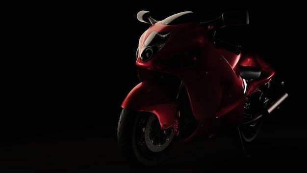 Moto rouge avec fond noir. rendu et illustration 3d.