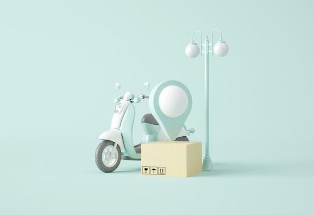 Moto, smartphone, lampadaire et boîte à cartes