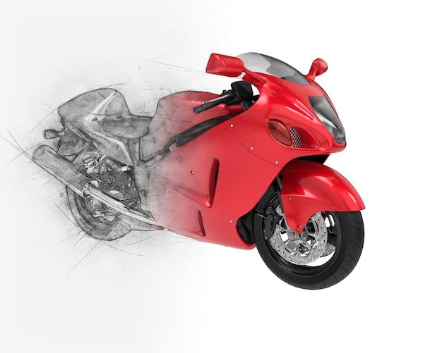 Moto de sport avec croquis semi