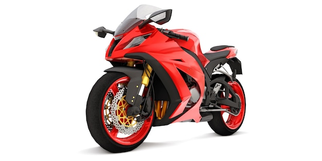 Moto de sport super rouge 3d sur fond blanc isolé. illustration 3d.