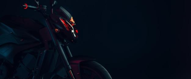 Moto en studio. rendu et illustration 3d.