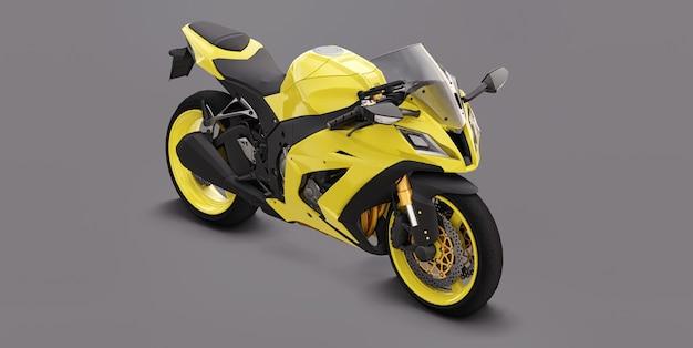 Moto Super Sport Jaune 3d Sur Fond Gris. Illustration 3d. Photo Premium