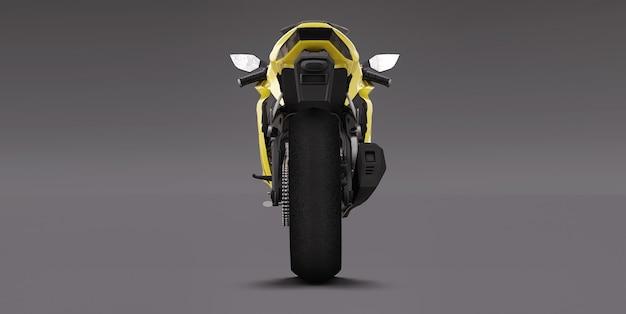 Moto super sport jaune 3d sur fond gris. illustration 3d.