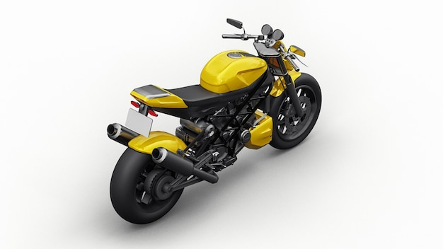 Moto super sport jaune sur fond blanc. illustration 3d.