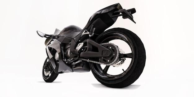 Moto super sport noir 3d sur fond isolé blanc. illustration 3d.