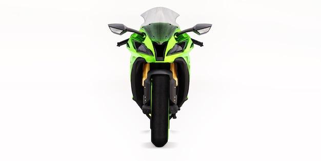 Moto super sport verte 3d sur fond isolé blanc. illustration 3d.