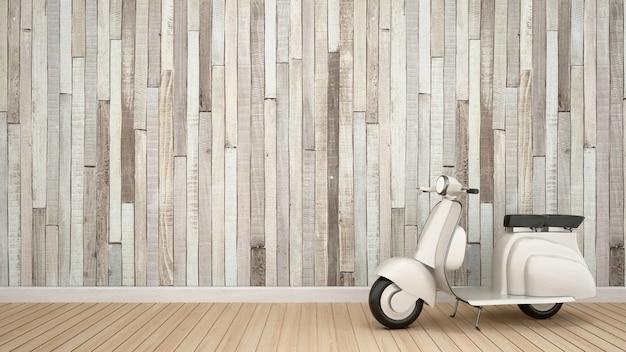 Moto vintage dans une salle vide pour les illustrations