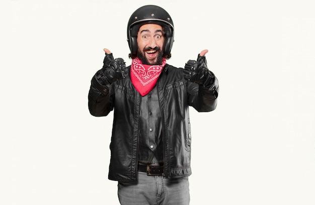 Motocycliste bien geste