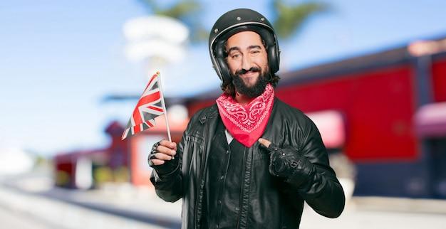 Motocycliste, drapeau, angleterre