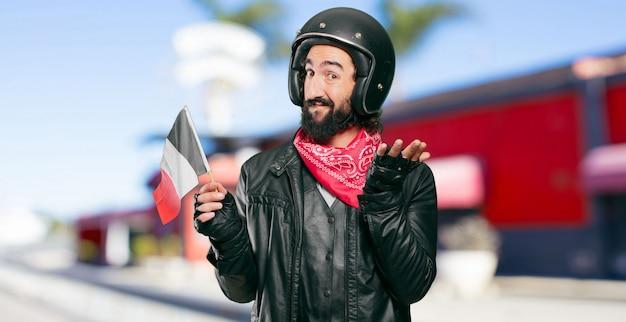 Motocycliste, drapeau, france