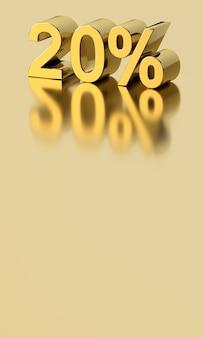 Mots 3d 20% pour cent avec réflexion sur fond d'or