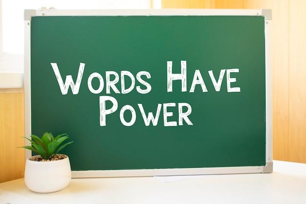 Les mots ont un pouvoir d'inscription à la craie sur le conseil scolaire, l'optimisation des moteurs de recherche et les sites web. bureau, boules de papier balayées, clavier d'ordinateur