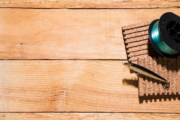 Moulinet, pêche, leurre, liège, bureau, bois