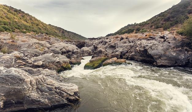 Mousse dans les rapides de la rivière avec rocher recouvert de mousse verte et jaune