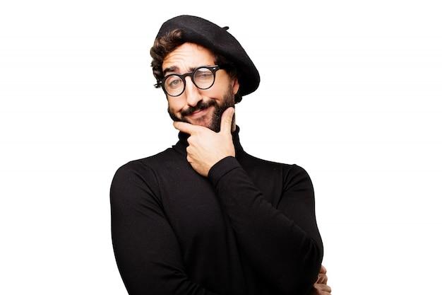 Moustache créative peintre arrogante beau