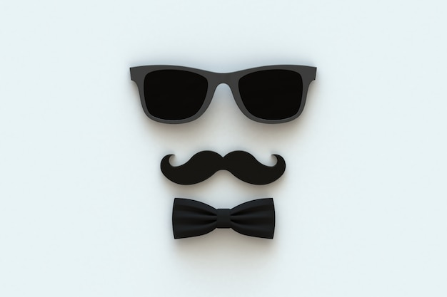 Moustache et lunettes sur blanc