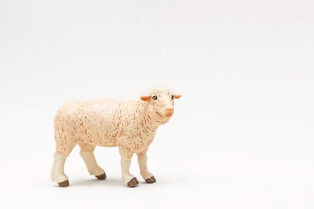 Mouton jouet en plastique réaliste isolé sur une surface blanche