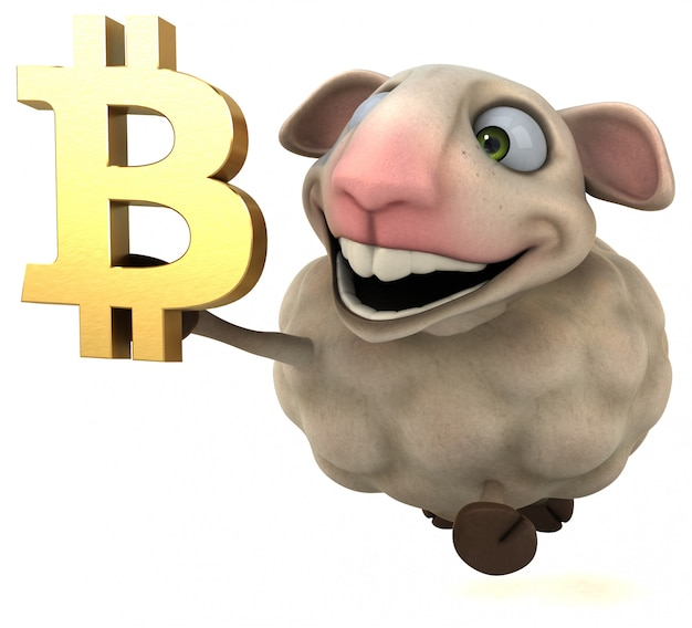 Moutons et bitcoin - illustration 3d