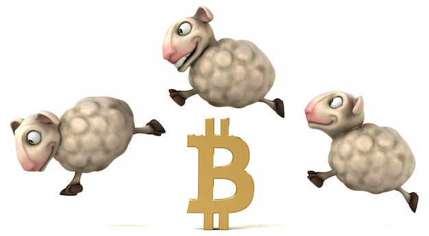 Moutons et bitcoin - illustration 3d