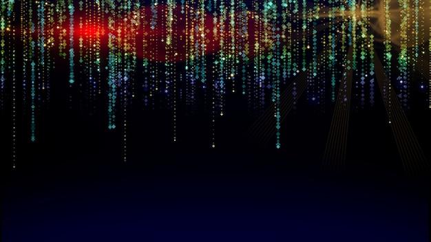 Mouvement graphique de particules bleues et dorées scintillantes qui tombent et scintillent sur un bac abstrait
