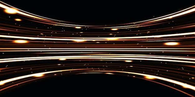 Mouvement de lumière et rayures effet abstrait lueur splash vague colorée spirale art ruban rouge vif sur fond noir illustration 3d