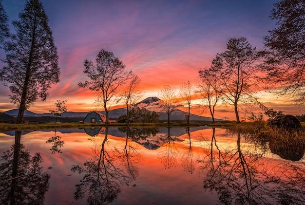 Mt. fuji avec de grands arbres et un lac au lever du soleil à fujinomiya, au japon.