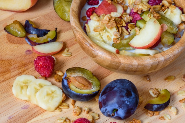 Muesli aux fruits rouges, fruits et lait
