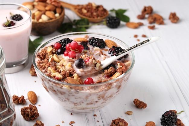 Muesli croustillant au miel granola avec yaourt naturel, baies fraîches, chocolat et noix dans un bol