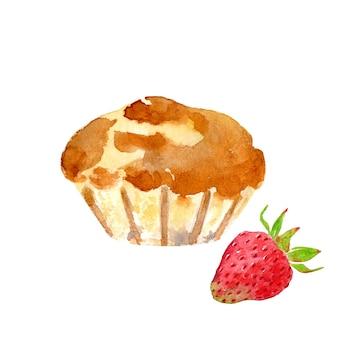 Muffin dessiné à la main à la fraise
